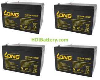 Conjunto 4 baterías AGM 48 Voltios 14 Amperios Long 151x98x100 mm