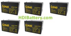 Conjunto 5 baterías AGM 60 Voltios 14 Amperios Long 151x98x100 mm
