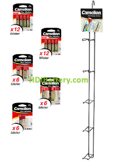 EXP080 Expositor de pilas alcalinas Camelion 132 pilas incluidas