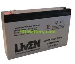 Batería Plomo AGM 6 Voltios 9 Amperios LVH6-36W