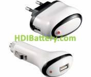 Set Cargadores Alimentadores 100-240Vca-12Vcc / USB 5Vcc-1A