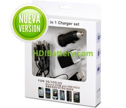 Set Cargadores teléfonos móviles 100-240Vca y 12Vcc / USB
