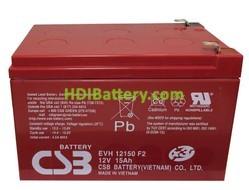 Batería para Bicicleta eléctrica 12v 15ah plomo agm CSB EVH12150. Especial vehículos eléctricos