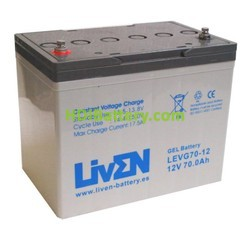 Batería para Caravana 12v 70ah Gel Puro LEVG70-12 Liven