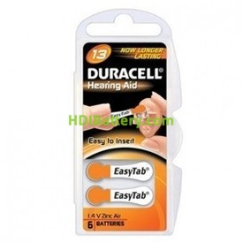 Pila de Audifono DA13 Duracell (Blister de 6 Pilas)