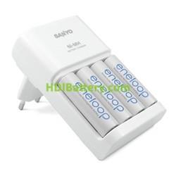 Cargador rapido de baterias Sanyo Eneloop AA + 4 baterias MQR06