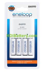 Cargador de baterías AAA y AA Sanyo Eneloop más 4 baterias AA.