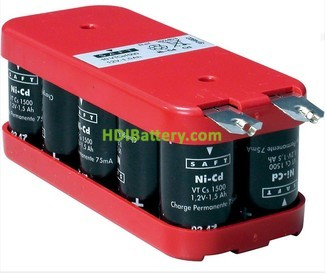 Pack de baterías 12V 1600mAh Ni-Cd