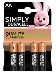 Pilas Duracell Simply LR6 AA Blister 4Ud